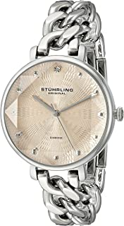 Stuhrling Original Women's Quartz Watch With Rose Gold Dial Analogue Display and Silver Stainless Steel Bracelet 596.03