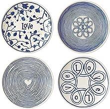 Royal Doulton 40027658 Ellen Degeneres Love Accent Side Plate 16cm Set of 4, Porcelain, Blue