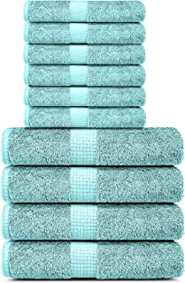 100% Cotton Towels, 4 Bath Towels and 6 Hand Towels 600 GSM Highly Absorbent & Soft, Premium Quality Melrose Towels Set fo...