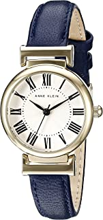Women's AK/2246CRNV Gold-Tone and Navy Blue Leather Strap Watch