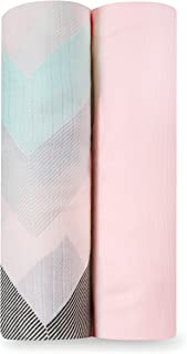 aden + anais Ziggy Bamboo Muslin Soft Swaddle 2 Pack, Pink, 2 Count
