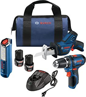 Bosch Power Tools Combo Kit GXL12V-310B22-12V Max 3-Tool Set with 3/8 In. Drill/Driver, Pocket Reciprocating Saw and LED Worklight