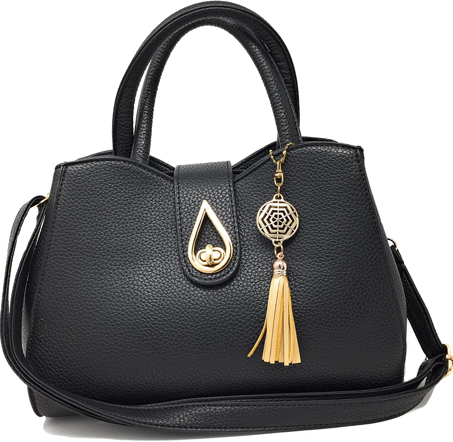 Blazing Autumn Fashion Handbag Shoulder Bag Black Faux Leather gold color Accents