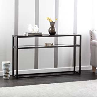 Baldrick Glass Media Console Table - Space Saving w/ Slim Profile - 2 Tier