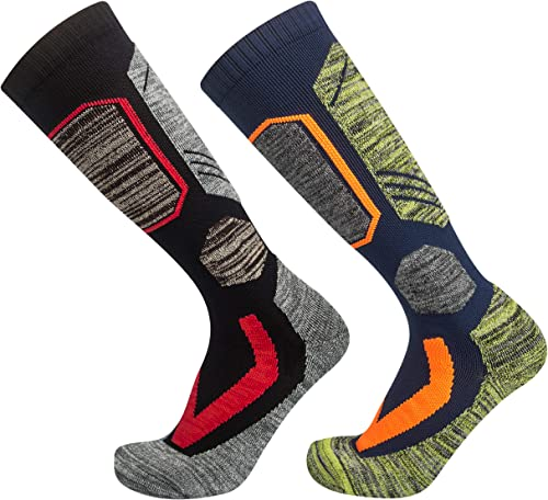TopAcsy Ski Socks 2 Pairs Winter Snowboard Thermal Thermolite Over the Calf Stocking for Mens Womens