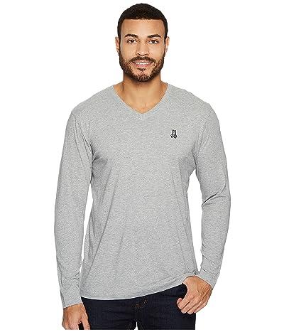 Psycho Bunny V-Neck Long Sleeve T-Shirt (Heather Grey) Men