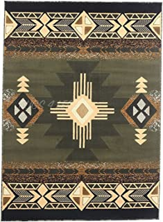 Rugs 4 Less Collection Southwest Native American Indian Door Mat Area Rug Design Olive Green, Sage Green 318 (2x3)