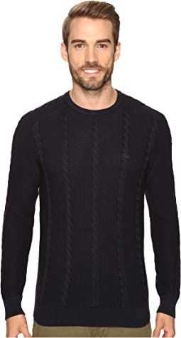 Long Sleeve Resort Cotton Cable Crew Neck