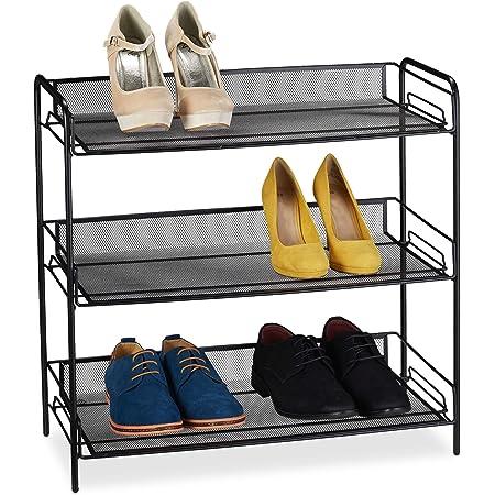 Relaxdays Zapatero Metálico, 3 Estantes, Estantería, Organizador, 9 Pares Zapatos, Acero, 1 Ud, 59,5x62x29,5 cm, Negro