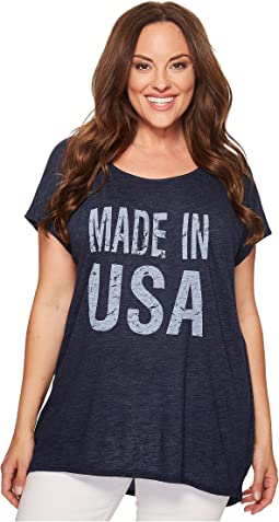 Plus Size Made in USA Cap Sleeve Tee
