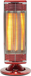 Electroline CHE125RO Rojo 1200W - Calefactor (Fibra de carbono, Piso, Rojo, De plástico, Giratorio, 1200 W)
