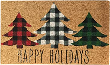 "Elrene Home Fashions Farmhouse Living Holiday Plaid Christmas Tree Coir Doormat for Entryway/Front Door/Porch, 18""x30"" Mat"