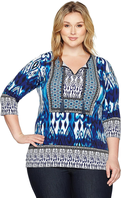 Jones New York Womens Plus Size Mgoldccan Ikat PRT 3 4 SLV Tunic Tunic Shirt