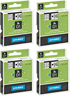 DYMO 45013 D1 Tape Cartridge for Dymo Label Makers, Created Specifically for Your LabelManager and LabelWriter Duo Label Makers, 1/2-inch x 23 Feet, Black on White, Pack of 4