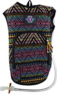 Dan-Pak Rave Hydration Pack 2l- Neon Tribe -Black and Rainbow Woven Tribal Design - Perfect for Music Festivals and Camping!
