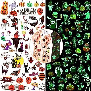 50 Sheets Halloween Temporary Tattoos for Kids Waterproof, Luminous Glow in the Dark Tattoo Stickers Ghost Pumpkin Spider ...
