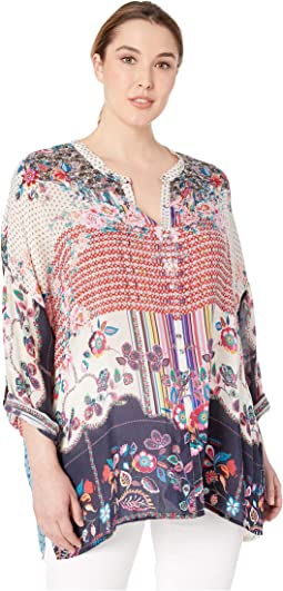 Plus Size Patch Button Down Blouse