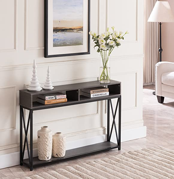 Grey Finish Top Black Metal X Design Frame 2 Tier Sofa Console Table With Two Storage Compartments