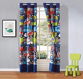 Luxury Home Collection Boys 2 Piece Curtain Set with Grommets Heroes Police Car Fire Truck Tow Fire Hydrant White Blue Red #Heroes (Curtain Set)