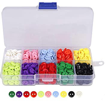 Botones Costura de 10 Colores Botones Redondo de Resina con Caja de Plástico para manualidades de DIY Coser Artesanía 9mm 750 unidades: Amazon.es: Hogar