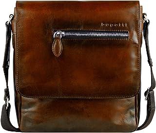 Bugatti Domus Kleine Leder Umhängetasche für Damen und Herren, Schultertasche Messenger Bag Kuriertasche