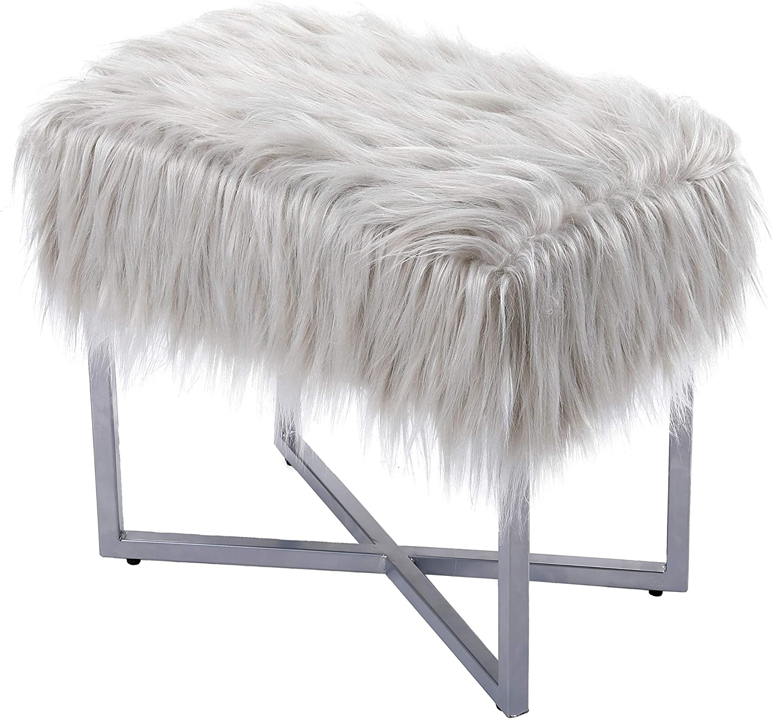 BirdRock Home Limited time sale Rectangular Grey Faux Foot Fur Stool with Fort Worth Mall Ottoman