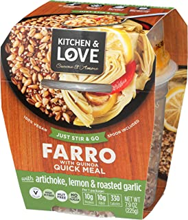 Sponsored Ad - Kitchen & Love Artichoke, Lemon & Roasted Garlic Farro Meal 6-Pack | Vegan, Ready-to-Eat, No Refrigeration ...