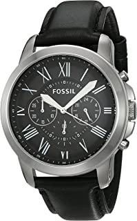 Fossil Casual Chronograph Black Dial Black Leather Watch for  Men - FS4812IE
