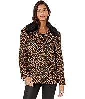 Faux Sherpa Trimmed Leopard Wool Blend Biker