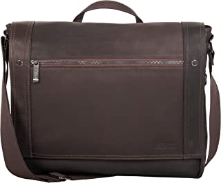 """Kenneth Cole Reaction Men's Mess Essentials' Colombian Leather Business 15.6"""" Laptop Messenger Bag, Dark Brown, One Size"""