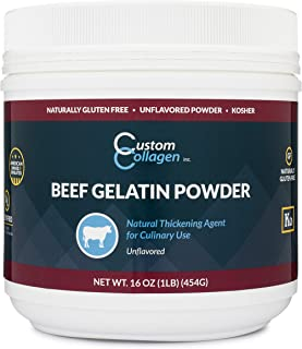 Plain Gelatin Powder - Gelatin Unflavored 1lb (16oz) Jar - Kosher - Culinary Gelatin - Gelatin for Jello Shots - Gelatin for Gummy Bears
