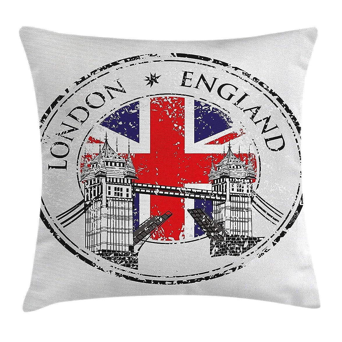 慣らす赤外線広くBritish Throw Pillow Cushion Cover, London England Grunge Stamp with Flag Nostalgic National Graphic, Decorative Square Accent Pillow Case, Scarlet Navy Blue Light Grey Size:20 X 20 Inches/50cm x 50cm