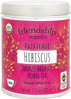 Friendship Organics Pure Hibiscus, Totally Organic and Fair Trade Herbal Tea - Tagless Tea Bags (22 count)
