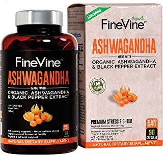 Organic Ashwagandha Root Powder - 90 Veggie Capsules | with Black Pepper Extract | Natural Herbal Supplement for Anxiety, Stress Relief, Adrenal Fatigue, Thyroid Support | Boost Mood, Energy, Libido