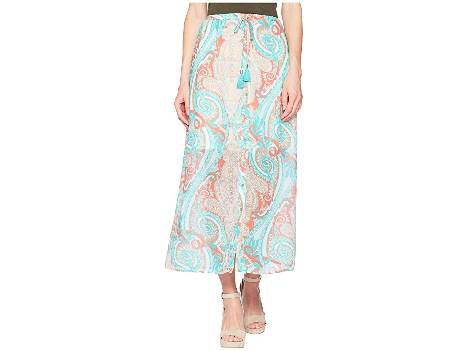 Tribal Printed 37 Pull-On Maxi Skirt with Tassel (Coral) Women