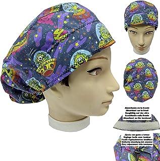 Cappello sala operatoria donna ALIENI FELICI per Capelli Lunghi Asciugamano assorbente sulla fronte facilmente regolabile ...