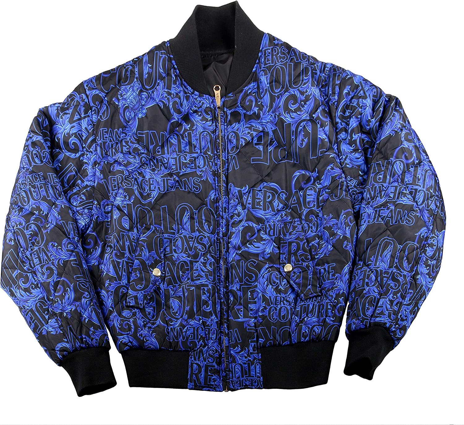 Versace Jeans Couture Baroque Print Full Zip Blue/Black Bomber Winter Reversible Jacket-S for Mens