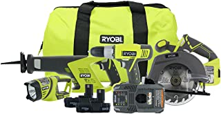Ryobi P883 One+ 18V Lithium Ion Cordless Contractor's Kit (8 Pieces: 1 x P704..