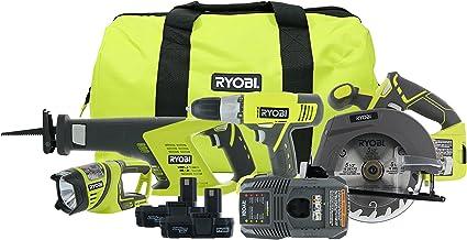 Ryobi P883 One+ 18V Lithium Ion Cordless Contractor's Kit (8 Pieces: 1 x P704..
