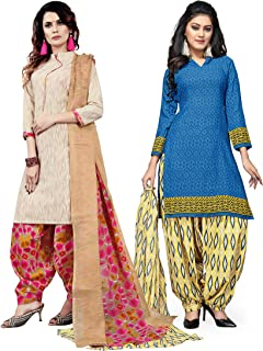 Rajnandini Women's Beige and Sky Blue Cotton Printed Unstitched Salwar Suit Material (Combo Of 2) (Free Size)