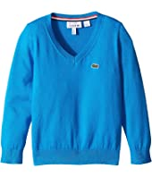 Lacoste Kids - V-Neck Cotton Sweater (Toddler/Little Kids/Big Kids)