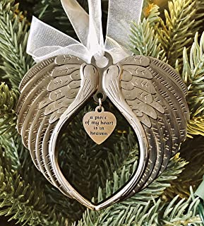 Best Christmas Ornaments Angel Wings - A Piece of My Heart is in Heaven Ornament for Christmas Tree - Double Sided Memorial Ornament for Loss of Loved One - Luxurious Silk Ribbon & Red Gift Bag Review
