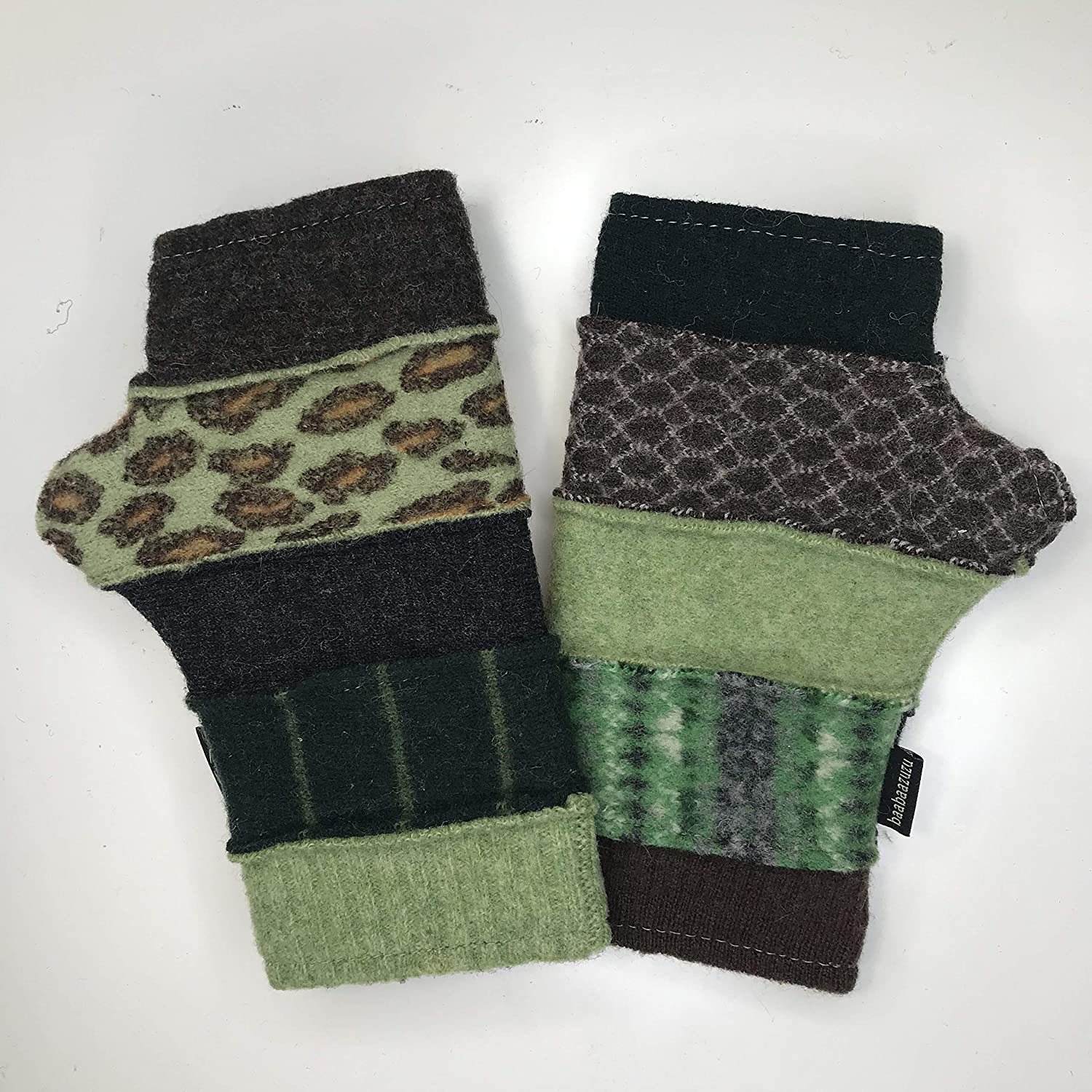Translated Baabaazuzu Women's Rapid rise Upcycled Wool Fingerless Made USA in Gloves
