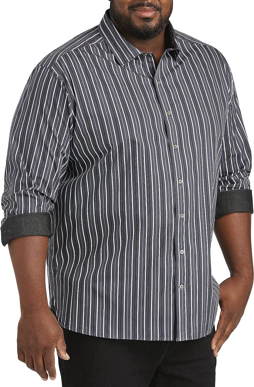 DXL Twenty-Eight Degrees Big and Tall Stripe Sport Shirt, Black