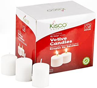 Kisco Candles Votive Candles – Set of 36 Restaurant and Relight Party Candles –White Unscented Votive Candles – Home Décor Candles with Approx. 10 Hour Burning Time