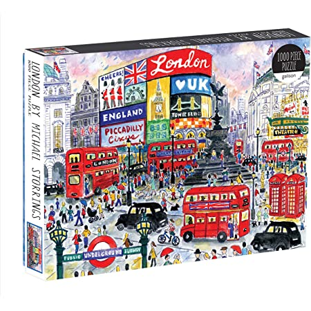 Galison Michael Storrings 1000 Piece London Jigsaw Puzzle for Adults – Illustrated Art Jigsaw Puzzle with Scene from The Streets of London – Fun Indoor Activity, Multicolor