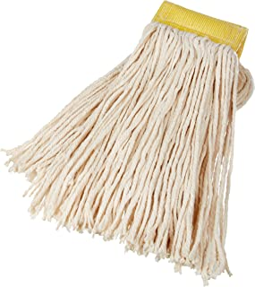 AmazonBasics Cut-End Cotton Commercial String Mop Head, 5 Inch Headband, Large, White, 6-Pack