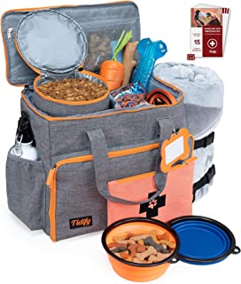Dog Travel Bag Week Away/Overnight Accessories Organizer - Pet First Aid Pouch - Airline Approved - 2 Food Storage Containers and Collapsible Bowls - Water Resistant - for Small, Medium & Large Dogs