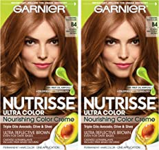 Garnier Nutrisse Ultra Color Nourishing Permanent Hair Color Cream, B4 Caramel Chocolate (Pack of 2) Brown Hair Dye