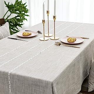 صفحه BRILIANT Faux Burlap رومیزی مستطیل شکل روکش جدول برای تزیین سفره راه راه آشپزخانه (52 72 72 اینچ ، کتانی سبک)